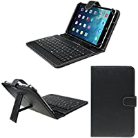 "Hello Zone Exclusive 7"" Inch USB Keyboard Tablet Case Cover Book Cover For AAKASH UBISLATE 7CX -Black"