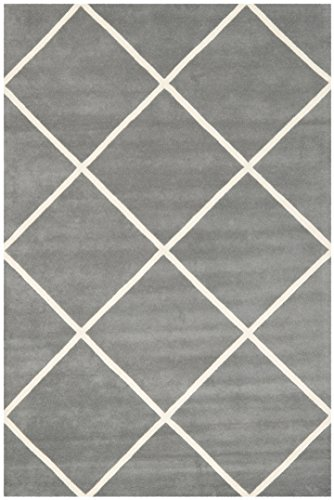 Safavieh Chatham Collection CHT720D Handmade Dark Grey and Ivory Wool Area Rug, 6 feet by 9 feet (6' x 9')