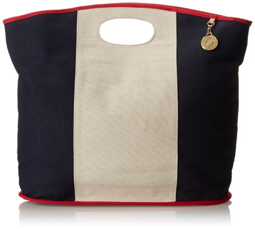 Tommy Hilfiger West Coasting Tote Colorblock Canvas Shoulder Bag,Tommy Red/Navy,One Size