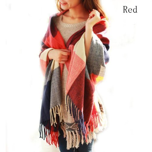 Discountfan Winter Long Soft Warm Tartan Check Scarves Wraps