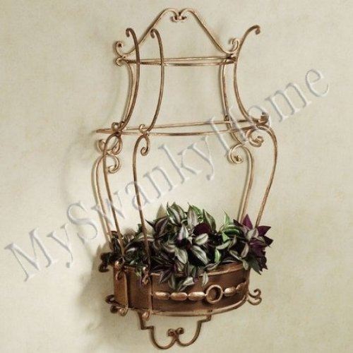 Gold Scroll Iron Wall Shelf front-812609