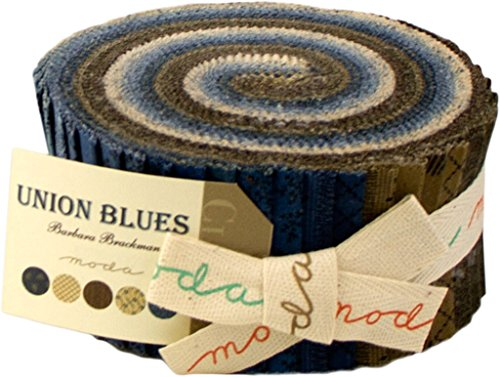 Moda Union Blues Jelly Roll, 40 2.5x44-inch Cotton Fabric Strips