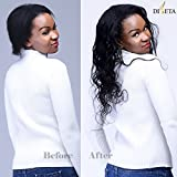 Diseta Remy Hair Body Wave 3 Bundles With Closure Brazilian Virgin Remy Hair Weaves 16 18 20 Inch Unprocessed Human Hair Extensions With 14 Inch Nature Black Color Top Swiss Lace Closure Bleached Knots Free Part