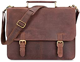 LEABAGS Gainsville genuine buffalo leather messenger bag in vintage style - Nutmeg