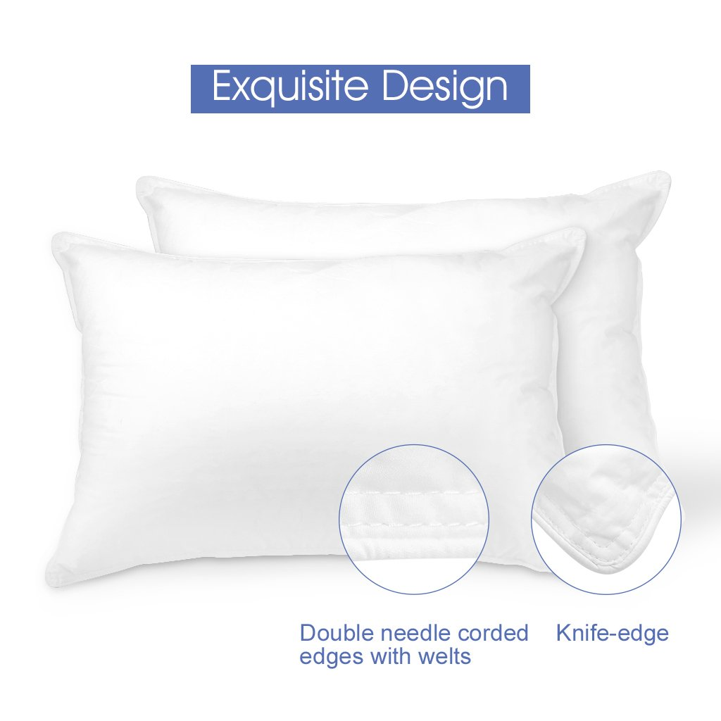 LANGRIA Down Alternative Bed Pillows with Hypoallergenic and Breathable 100% Cotton Shell, Queen Size, White (2pcs)