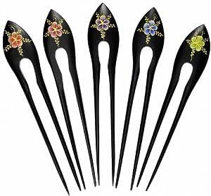 Haarnadel aus Holz mit Blumenmotiv, Haarschmuck