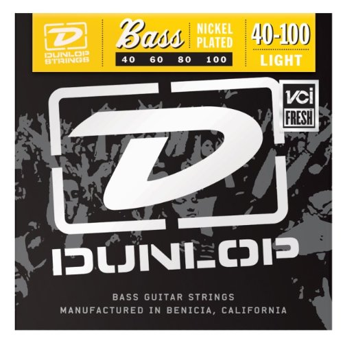 Dunlop Dbn40100 Nickel Light Stainless Steel Bass Guitar 4-String Set, .40-.100 Gauge