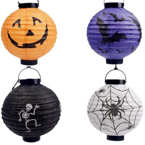 ハロウィン LEDランタン 堤灯 『 カボチャ クモ コウモリ ドクロ 』 ( ハロウィンカラー 4種セット ) LED 装飾 パーティ イベント