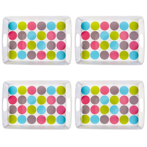 New Navigate Summerhouse 4pk Candy Polka Dot Large Food Drinks Serving Lap Trays