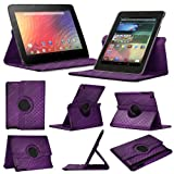Stuff4 MR-NX7-L360-PAT-DMND-P-STY-SP Diamond Designed Leather Smart Case with 360 Degree Rotating Swivel Action and Free Screen Protector/Stylus Touch Pen for 7 inch Google Nexus 7 - Purple