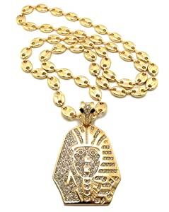 """New Iced Out KING TUT Pendant 10mm&36"""" Link Chain Hip Hop Necklace RC12G"""