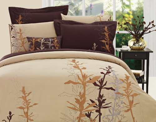 Autumn Leaves Mocha Duvet Set (Mocha, TWIN)