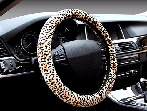Full Leopard Soft Car Fur Super Cute Steering Wheel Covers Car Accessories 15