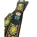 Anwenk Guitar Strap Acoustic Guitar Strap Bass Guitar Strap Woven Hootenanny Style Cool Vintage Pattern with Pick Pocket ,, Leather Ends, 3 Pcs of Guitar Picks, Ties for Acoustic Guitars