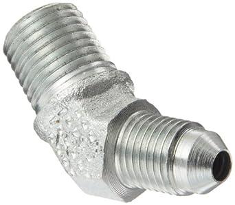 "Eaton Aeroquip  45 Degree Male Elbow, JIC 37 Degree & NPT End Types, Carbon Steel, 1/4 JIC(m) x 1/4 NPT(m) End Size, 1/4"" Tube OD, 1/4"" Male Pipe Size"