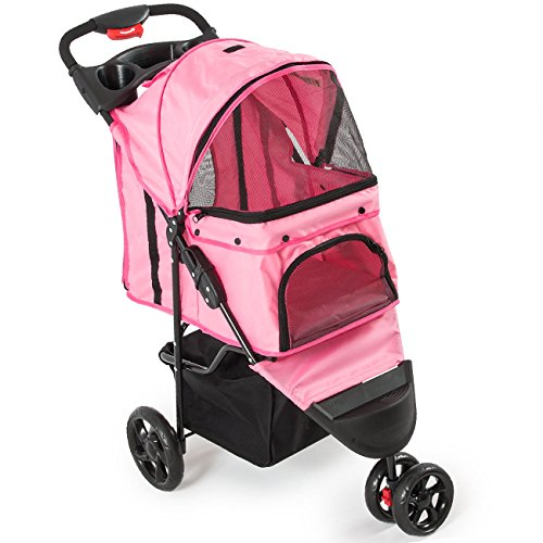 PETZONE© Foldable Pet Stroller Cat Dog Cage 3 Wheels, w/ Cup Holder, Pink