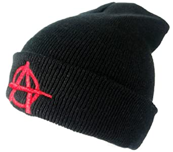 Black Sons Style Beanie Hat With Red Anarchy Design