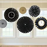 New Year Gold, Silver & Black Hanging Fan Decorations x 6