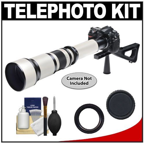 51PZN8oV0cL Phoenix 650 1300mm Telephoto Zoom Lens with 2x Teleconverter (=650 2600mm) + Case + Tripod + Cleaning Kit for Canon EOS 60D, 7D, 5D Mark II III, Rebel T3, T3i, T4i Digital SLR Cameras