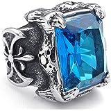 KONOV Schmuck Herren-Ring, Kristall Edelstahl, Gotik Gotik Drachen Klaue, Blau Silber