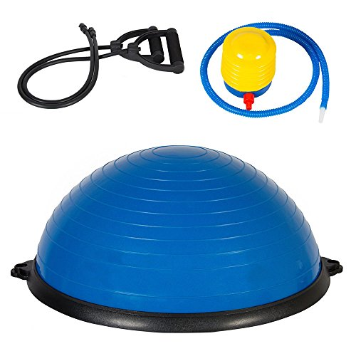 FCH Yoga Half Balance Trainer Ball Fitness Strength Exercise with Resistance Bands & Pump