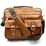 Baigio Mens Large Retro Handbag Shoulder Messenger Bag (brown)