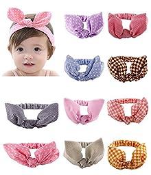 Qandsweet Baby Girl Elastic Hair Hoops Headbands (10 Colors 0-4t)