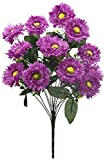 Fourwalls Artificial Chrysanthemum Flower Bunch (49 cm, Purple, 14 Branches)
