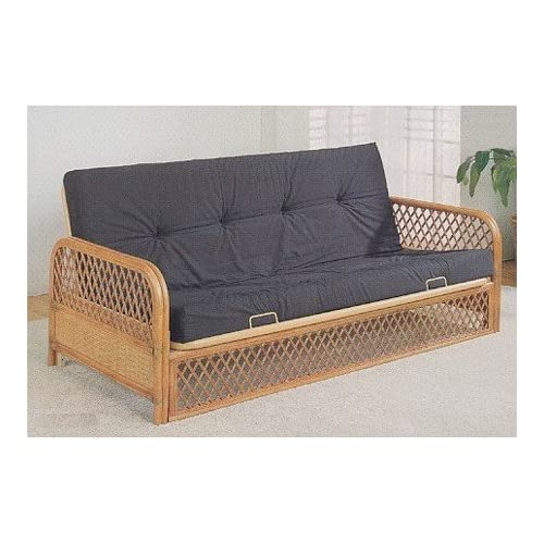 Amazoncom futon sofa bed in southwest lattice rattan for Wicker futon sofa bed