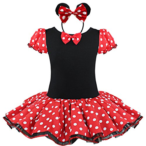 FEESHOW Baby Girls' Polka Dots Party Costume Fancy Tutu Dress Up with Headband (7-8, Red) (Girls Mini Mouse Costume)