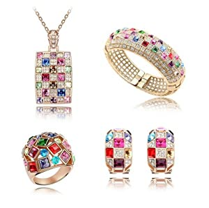 Mondaynoon Swarovski Elements Austrian Crystal Jewelry Sets ( Luxurious King) Necklace ,Bracelets,earring, Ring (Multicolor)