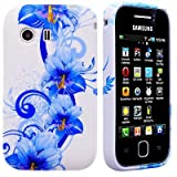Wayzon Premium Quality Case Cover Skin Pouch Shelll With TPU Protection Gel In An Elegant Blue Floral Design On White Base For Samsung Galaxy Y S5360 Phone