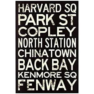 (13x19) Boston MBTA Stations Vintage Subway RetroMetro Travel Poster