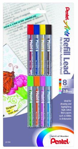 Pentel-Arts Lot de 8 recharges de couleur Couleurs assorties, 8 (CH2BP8M)
