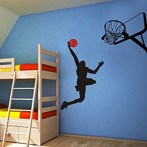 GECKOO® Basketball Player Dunk Ball Michael Jordan   Wall Decal Vinyl  Sticker Kidu0027s Bedroom D