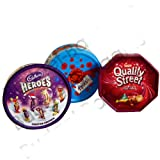 Festive Trio of Treats - Nestle Quality Streets, Cadbury Roses, & Cadbury Heros Tubs & Tin