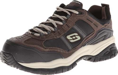Skechers for Work Men's Soft Stride Grinnel Slip Resistant Work Shoe,Brown/Black,9.5 M US