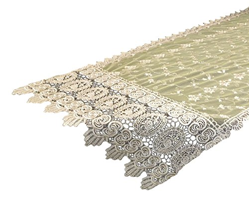 Your Hearts Delight Vintage Lace Table Runner Scarf, 17 by 90-Inch, Antique Gold