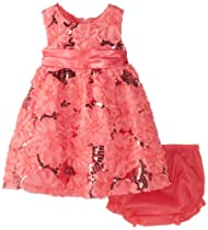 Rare Editions Baby Baby-Girls Infant Soutach Dress with Sequins, Coral, 18 Months
