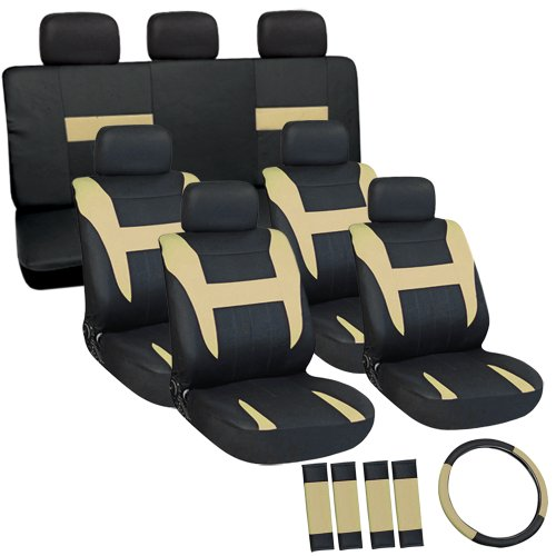 Oxgord Flat Cloth Seat Cover Set For Ford Suvs, Airbag Compatible, Split Bench, Tan & Black front-69410