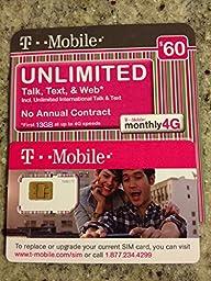 $60 T-Mobile Prepaid SIM Card Unlimited Talk, Text, & Web