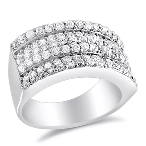 Wedding Ring Bridal Anniversary Band CZ Sterling Silver (2.25 Carat), Size 8