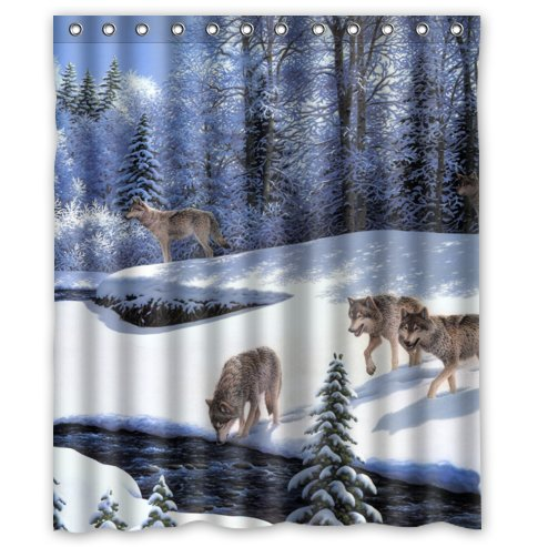Click to buy Wolf Shower Curtain:  Wolf Pack in Winter Shower Curtain from Amazon!