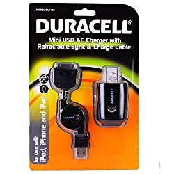 Duracell Mini USB AC Charger with Retractable 30 Pin Charge & Sync Cable for iPod, iPhone & iPad