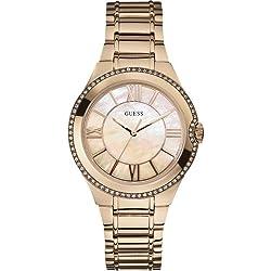 Guess W15077L1 - Reloj analógico de cuarzo para mujer con correa de acero inoxidable bañado
