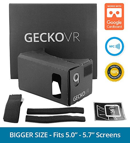 GECKO VR - (LARGE XL) Premium iPhone & Android Virtual Reality Kit w/ Extra Padding and Headstrap - Turn your phone into a virutal reality headset - Inspired by Google Cardboard and Oculus Rift
