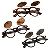 Anywa Steampunk Goth Goggles Glasses Retro Flip Up Round Sunglasses Vintage
