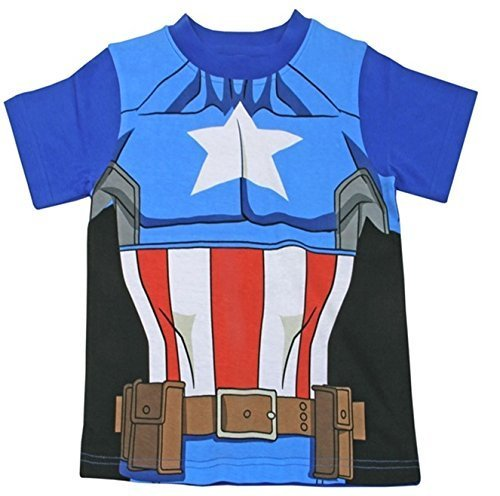 Kinder Umhang T-Shirt Superheld Jungen Kostüm Iron Man Superman Batman Official Starwars Marvel Avengers Verschiedene Größen - Jungen, Captain America T-Shirt 91616, 104/110