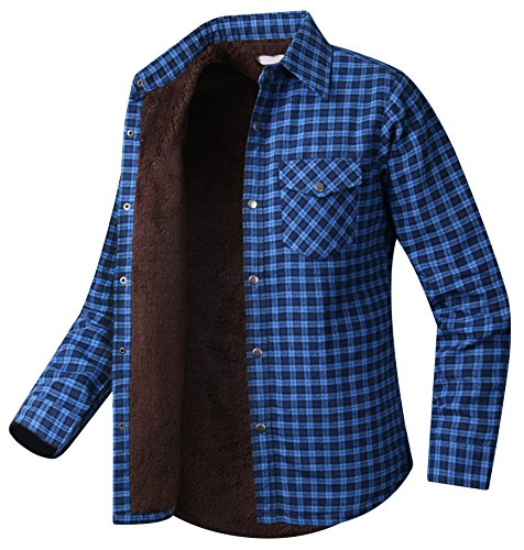HARRISON83 Mens Plaids Fleece Lined Long Sleeve Button Down Flannel Shirt/CM1177-BLUE-2XL
