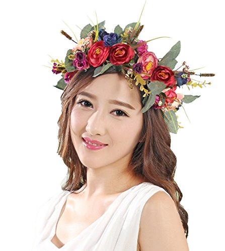 Vivivalue Camellia Flower Wreath Headband Floral Crown Garland Boho for Festival Wedding Blue